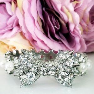 Betsey Johnson Spike Gem Studded Bow Bracelet